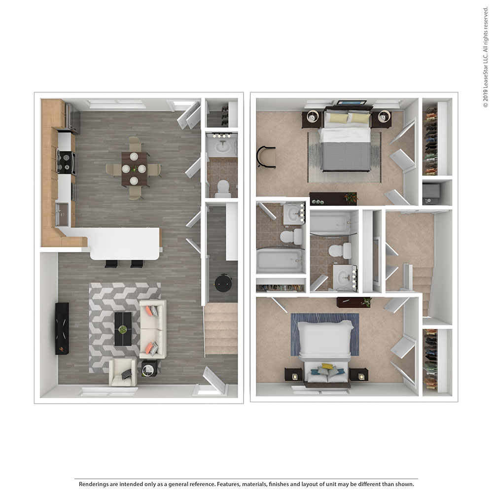 Two Bed, Two Bath Floor Plan