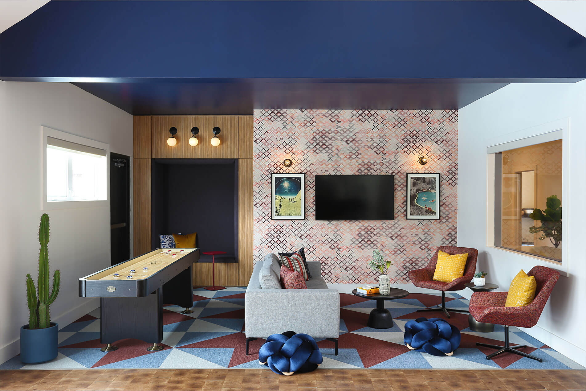 Clubhouse Area With Amenities at The Rowan Apartments