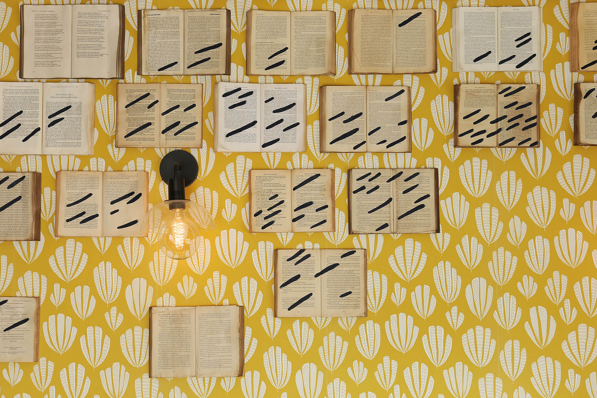 Yellow Wallpaper with Books